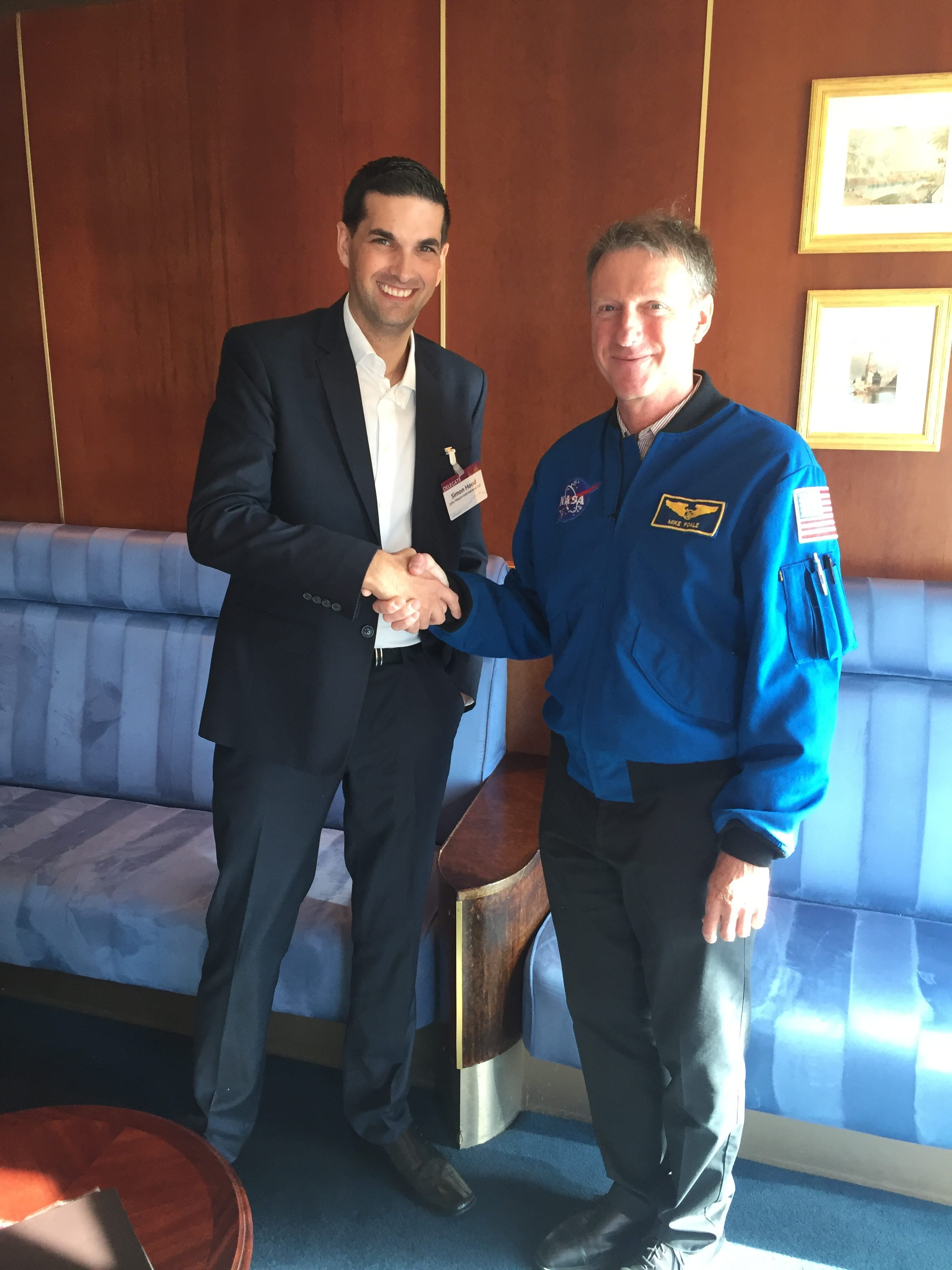 John Mason International's Simon Hood with former NASA astronaut Michael Foale, CBE.